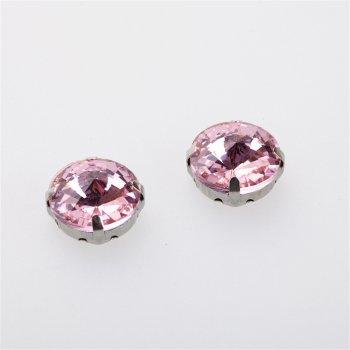 Стразы стеклянные в металлической оправе. Розовый. Диаметр 14 мм.