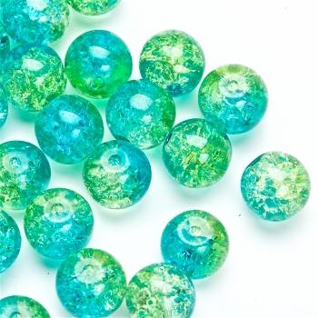 Намистина скляна з кракелюр мікс зелено блакитна
