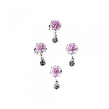 Металлическая бусина шарм цветок с эмалью
