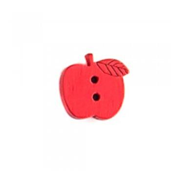 Яблоко, пуговица деревянная, красная, 15х15 мм
