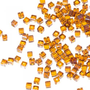 Бусина кубическая, янтарная, хрусталь, 4 мм