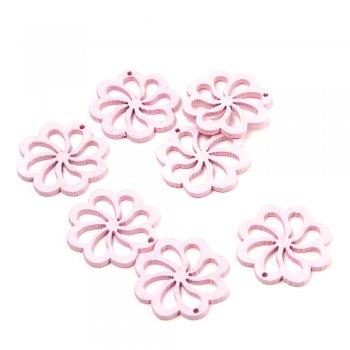 Підвіски дерев'яні. Квітка рожева. Розмір 23 мм.