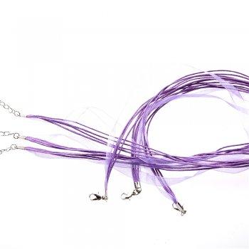 Основа для кулона Четыре хлопковых шнура и лента из органзы, сиреневая