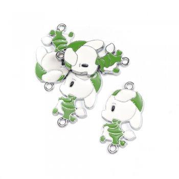 Зелений баранчик. Підвіска з кольоровою емаллю мельхіоровий