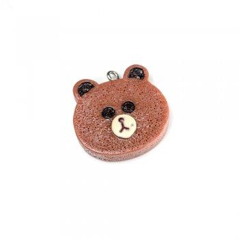 Медведь. Подвески из полимерной глины. Коричневый