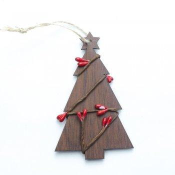 Дерев'яна підвіска Ялинка з гірляндою, 110*65 мм