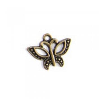 Бабочка маленькая, металлическая литая подвеска, бронза, 7х7 мм