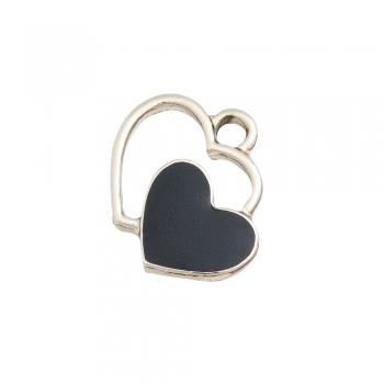 Металлическая подвеска с эмалью Два сердца черное