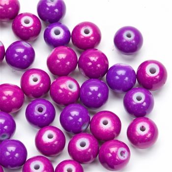 Бусина стеклянная 8 мм фиолетовая