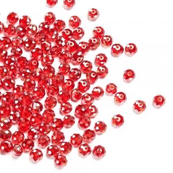 Хрустальная бусина рондель 6 мм красная радужная