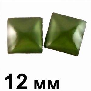 Пластикові кабошони зелений опуклий квадрат 12 мм