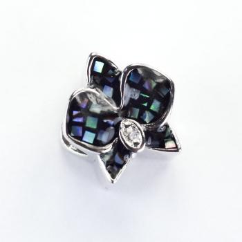 Металлическая бусина шарм LUX Цветок черный