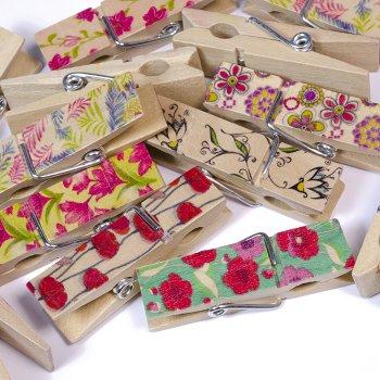Прищіпки дерев'яні з квітковим візерунком