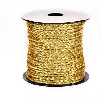 Шнур-косичка, шкірзамінник, золотистий, 3 мм