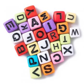 Пластикові намистини-букви Англійський алфавіт квадратні (26 шт)