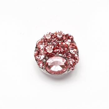 Бусина кнопка SNAP с розовыми камнями