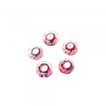Намистини шарм квіткові скляні мікс кольорів 13 мм