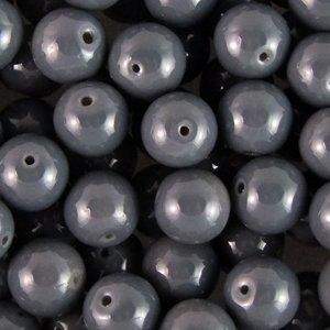 Намистина скляна 8 мм темно-сіра