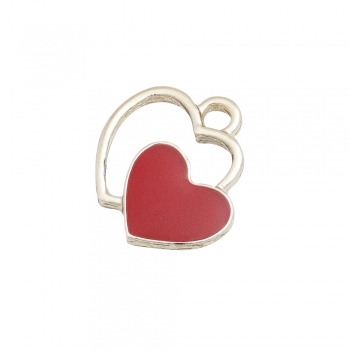 Металлическая подвеска с эмалью Два сердца