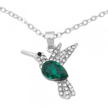 Цепочка с подвеской Колибри с зеленым камнем