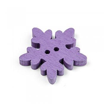 Сніжинки фіолетові ґудзики дерев'яні