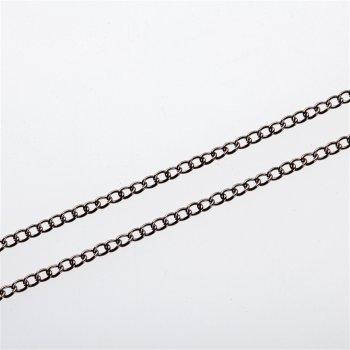Цепь тёмно-стальная мелкая панцирная 2х3,3х0,5 мм
