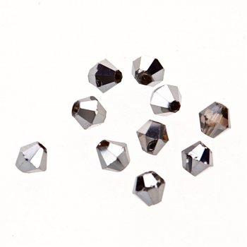 Бусина двуконическая, серебряная, гематит, хрусталь, 4 мм