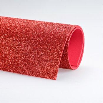 Фоаміран червоний, з блискітками, А4
