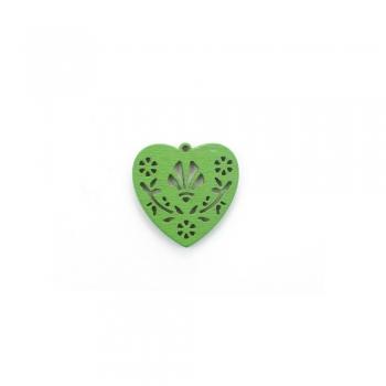 Дерев'яна підвіска Серце Зелене
