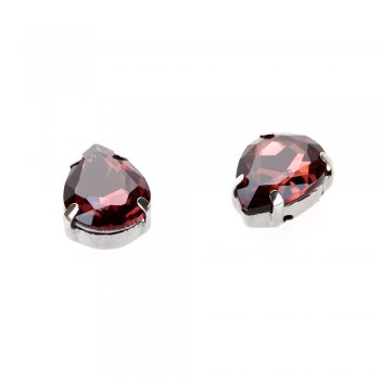 Стразы стеклянные в металлической оправе, вишневые, 14х10 мм