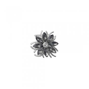 Бусина кнопка цветок 8-лепестковый серый