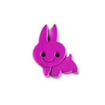 Кролик, ґудзик дерев'яний, фуксія, 16х21 мм