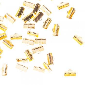 Зажимы для лент. Золотой. Длина 6 мм, ширина 12 мм.