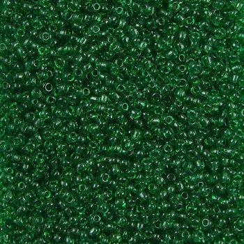 Бисер круглый мелкий зеленый прозрачный ,1.8 мм