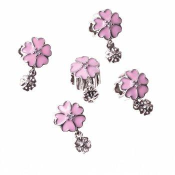 Металева намистина шарм LUX рожева квітка