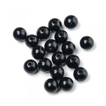 Пластиковая бусина, черная, 11 мм