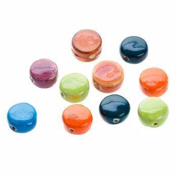 Глазурована кераміка. Намистини круглі плоскі різних кольорів