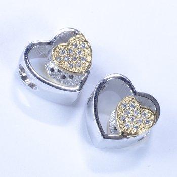 Металева намистина шарм LUX серце золото срібло