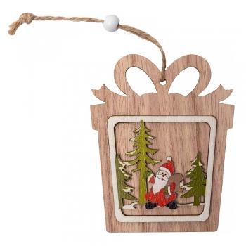 Подвеска деревянная на елку Подарок