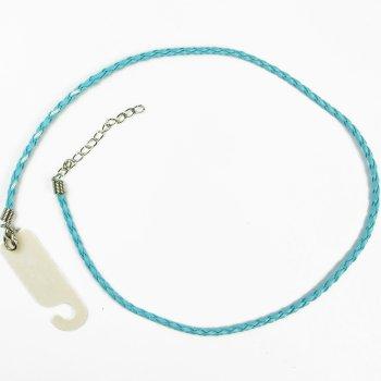 Плетёный шнур для кулона голубой кожзам 3 мм