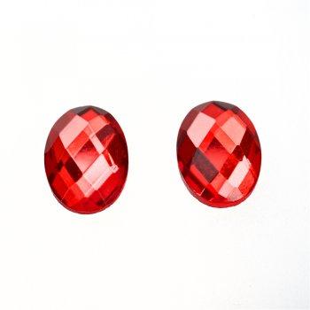 Стрази скляні клейові. Червоний. Довжина 18 мм, ширина 13 мм.