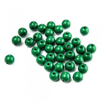 Пластик одноколірний Бусина кругла зелена 7 мм
