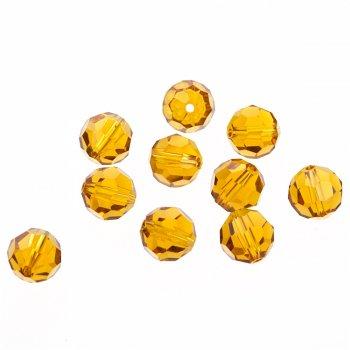 Хрустальная бусина круглая 10 мм коричневая прозрачная