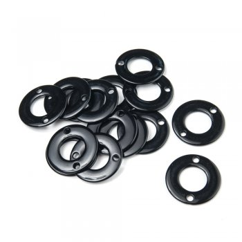 Пластик одноколірний. Кільце з двома отворами. Чорний. Розмір 35 мм.