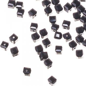 Намистина кубічна, чорна, кришталь, 6 мм