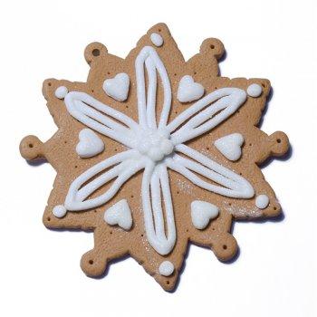 Іграшка новорічна з фімо Сніжинка