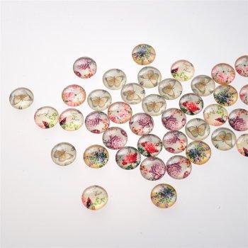 Кабошоны стеклянные. Микс цветов, 16 мм