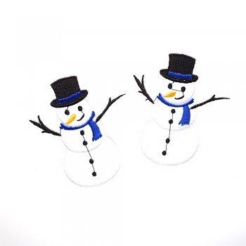 Снеговик, тканевая нашивка, 85х75 мм