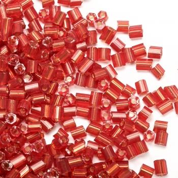 Бісер-рубка темно-червоний 2.1 мм напівпрозорий скло