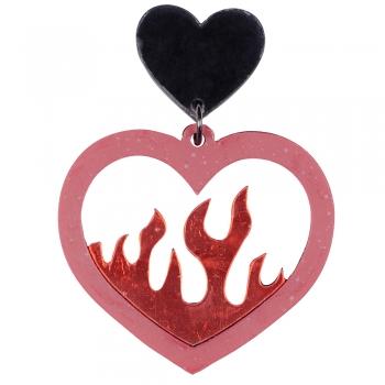Серьги Сердце в огне